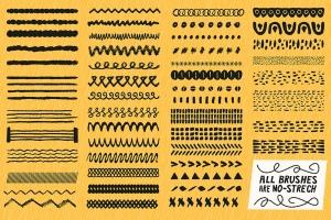 AI手绘插画必备的50个笔刷&60种图案纹理 Patts Brush Collection for Adobe Illustrator插图6