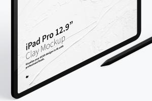 iPad Pro平板电脑黏土陶瓷材质等距右视图样机03 Clay iPad Pro 12.9 Mockup, Isometric Right View 03插图3