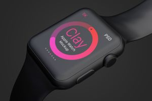 Apple Watch手表表盘UI界面设计效果图样机05 Clay Apple Watch Mockup 05插图4