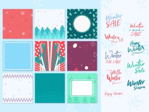 一流设计素材网下午茶:冬季广告banner设计矢量素材[Ai]插图3