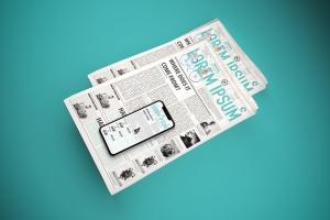 电子版报纸版式设计效果图样机 Newspaper App MockUp插图6