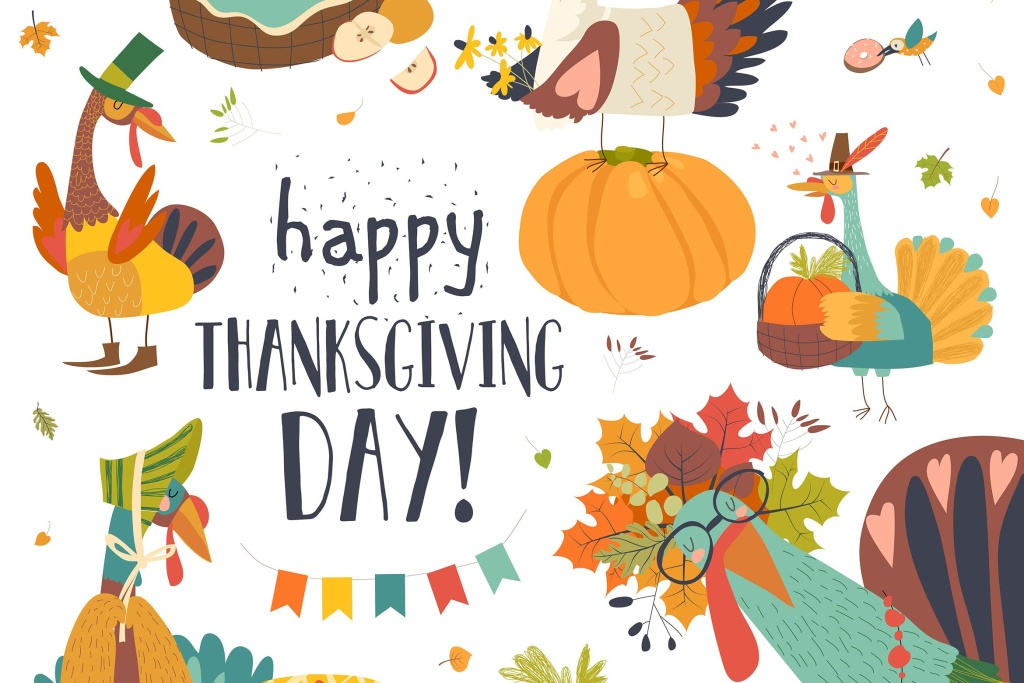 感恩节主题设计矢量手绘设计素材 Funny turkeys with Thanksgiving theme on white bac插图