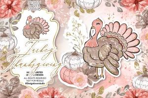 感恩节主题火鸡手绘图案数码纸张背景 Turkey Thanksgiving design插图1