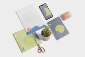 创意品牌VI视觉设计办公用品套装等距网格样机模板 Stationery Mockup Scenes插图4