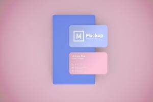 圆角设计风格企业名片设计效果图样机 Business Card Mockup Rounded Corner插图1