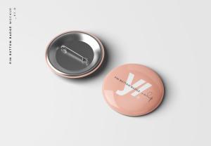 别针徽章胸章定做设计样机模板 Pin Button Badge Mockup插图1