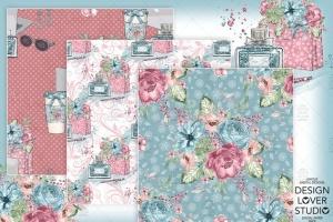 水彩花卉无缝图案设计素材 Boss Girl digital paper pack插图2