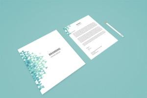 企业品牌办公用品样机模板 Branding Identity Mock Up – Teal Tirangles插图2