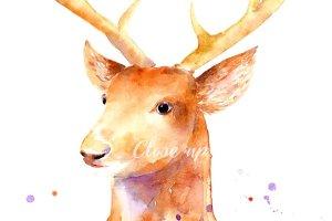 圣诞节驯鹿手绘水彩剪贴画 Christmas Reindeer Clipart插图3