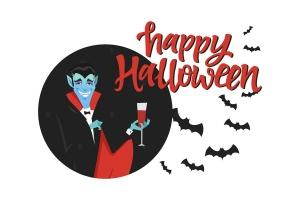万圣节节日海报卡通人物矢量插画 Happy Halloween poster with a cartoon character插图1