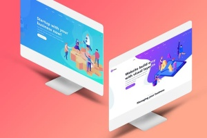 设计师必备等距iMac电脑网页设计展示样机套装 Isometric iMas Website Mockup插图5