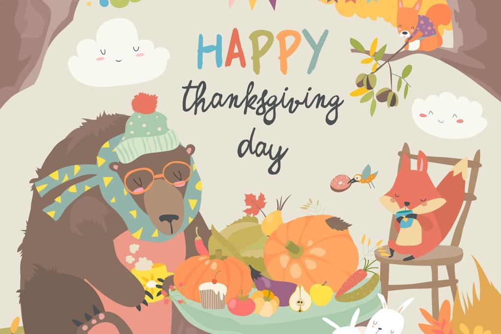 可爱动物感恩节矢量手绘图形素材 Cute animals celebrating Thanksgiving day. Vector插图