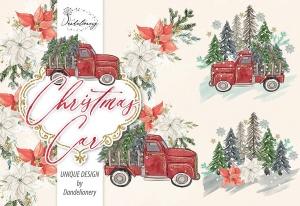 圣诞节节日主题水彩手绘汽车设计剪贴画PNG素材 Christmas Car design插图3