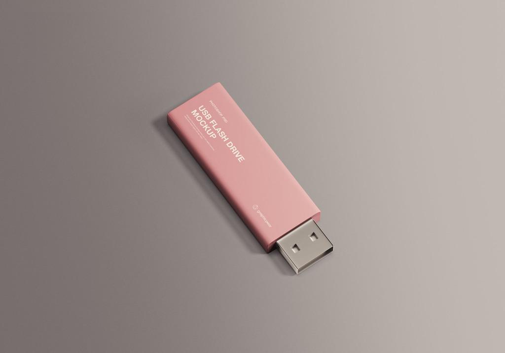 简约设计风格U盘硬件设备外观设计效果图样机 USB Flash Drive Mockup插图