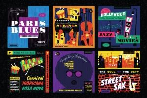 好莱坞经典音乐剧/老式爵士乐矢量插画&海报设计模板 Musical Illustrations and Poster Templates插图(4)