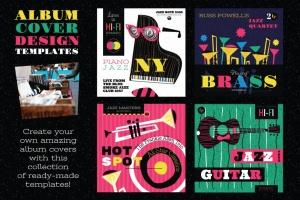 好莱坞经典音乐剧/老式爵士乐矢量插画&海报设计模板 Musical Illustrations and Poster Templates插图(3)