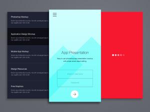 简约风格移动应用界面设计预览样机模板 Phone Application Presentation Mockup插图1