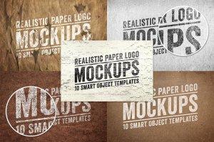 纸张印刷效果 Logo 展示样机 Paper Logo Mockups Volume 1插图4