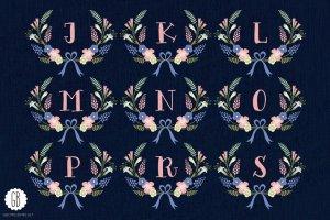 花环桂冠花背景装饰素材 Floral wreaths laurels monogram C75插图3