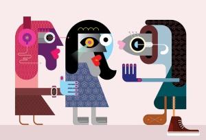 创意怪诞女性形象人物矢量插画素材 Two Women Talking to a Fish vector illustration插图2