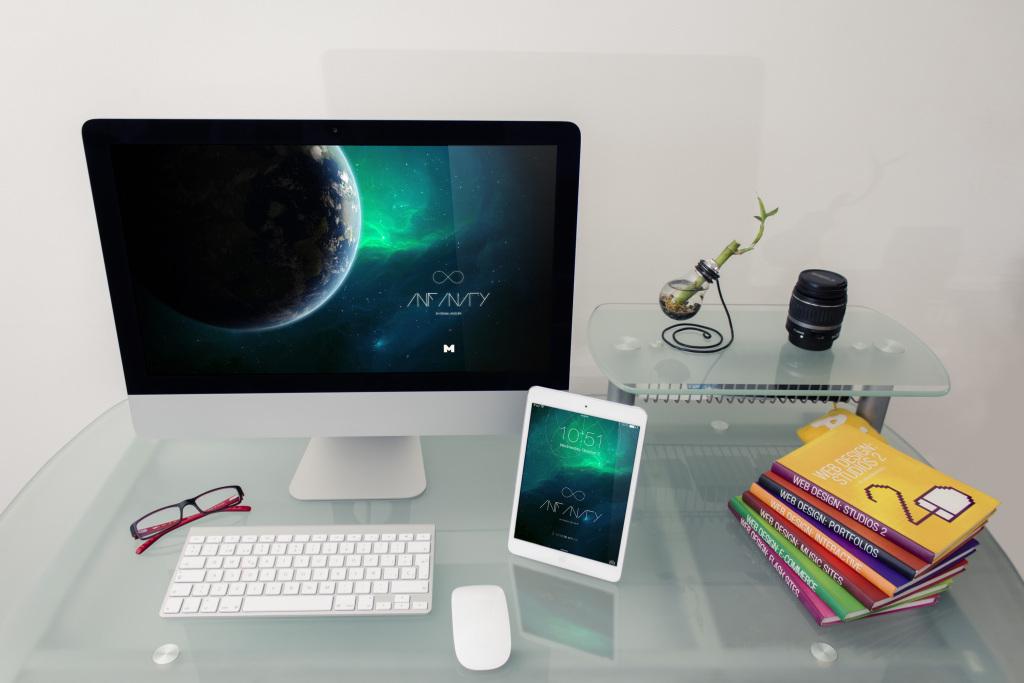iMac&iPad桌面设备屏幕预览效果样机3 Desktop Device Mockup 3插图