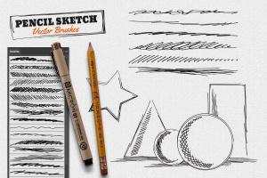 铅笔素描数码绘画AI笔刷 Vector Pencil Sketch Brushes插图(1)
