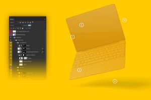 悬浮状态MacBook笔记本电脑屏幕界面设计预览样机 Clay MacBook Mockup, Floating插图5