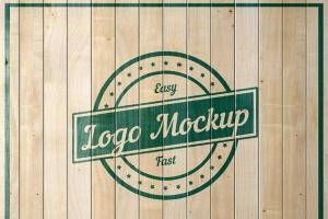 平面logo木板背景纹理样机 Logo Flat Mockup插图6