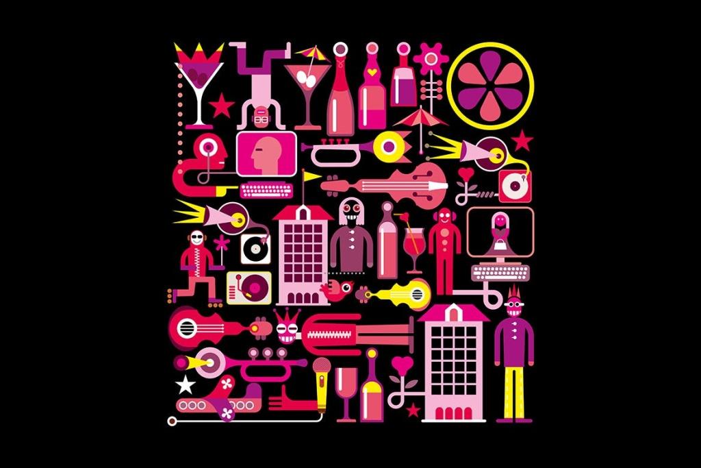 音乐夏夜矢量艺术插画设计素材 Music Summer Night vector artwork插图