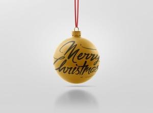 闪闪发光圣诞装饰球样机模板 Glitter Christmas Ball Mockup插图8