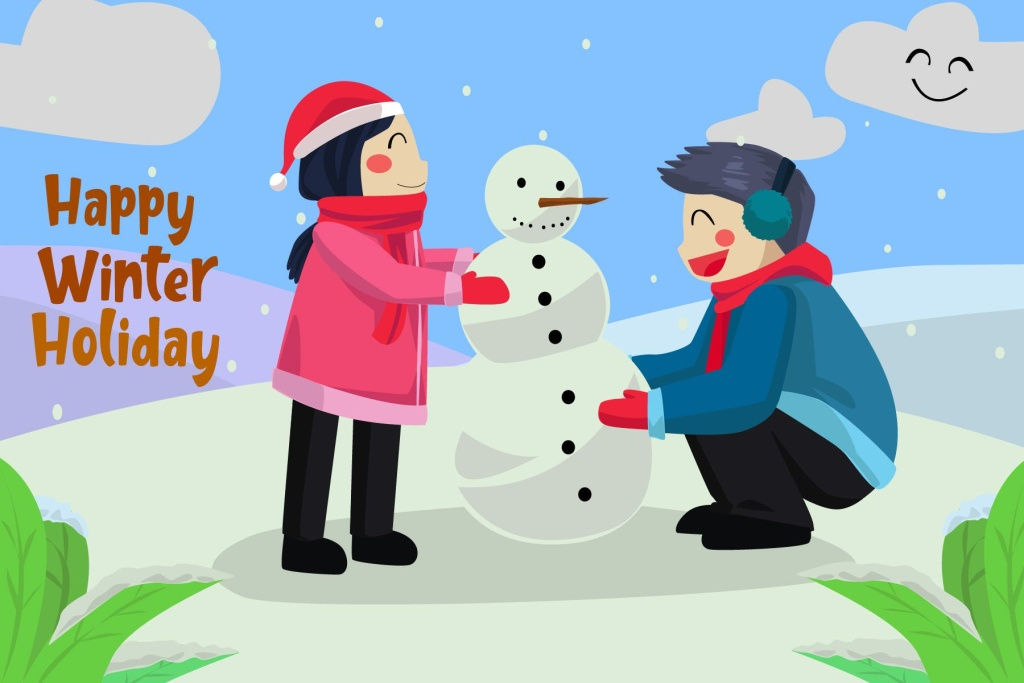 堆雪人场景圣诞节主题矢量插画素材 Happy Winter Holiday – Vector Illustration插图