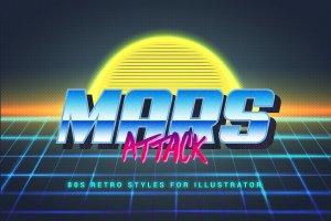 80年代复古文本图层样式 80s Retro Illustrator Styles插图9
