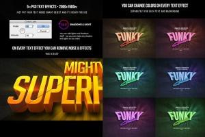 10款炫酷发光字体效果PSD分层模板 Text Effects Bundle – 10 PSD插图13
