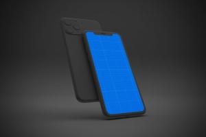 黑色背景iPhone 11智能手机屏幕预览样机 Dark iPhone 11 Mockup插图9