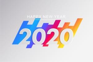 2020新年数字彩色矢量设计图形素材 2020 Happy New Year Greeting Card插图10