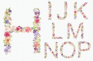 水彩手绘夏季混合花卉字母剪贴画PNG素材 Floral Alphabet: Mixed Summer Blooms插图3
