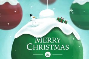 创意圣诞装饰球设计PSD分层模板 Christmas Ball插图1