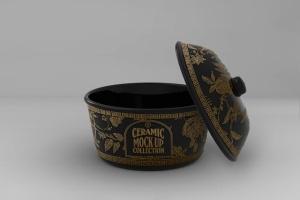 浮雕陶瓷餐具样机模板 Ceramic Pot Packaging MockUp插图3