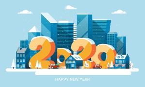 圣诞节&2020新年快乐主题矢量场景插画素材 Merry Christmas and and Happy New Year cards插图(2)