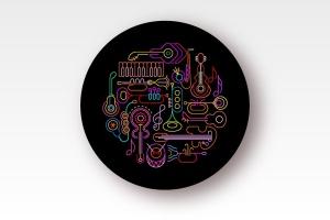 霓虹设计风格音乐乐器主题圆形矢量插画 Musical Instruments Neon round shape vector design插图2