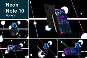 酷黑背景三星智能手机Note 10多角度屏幕预览样机模板 Neon Note 10 MockUp插图1
