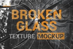 破碎玻璃效果PS图层样式PSD分层模板 Broken Glass Texture Mockup插图1