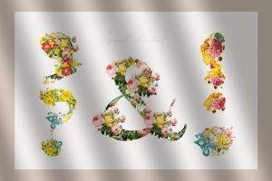 复古风格花卉字母&数字设计PNG素材 Vintage Flower Alphabet插图6
