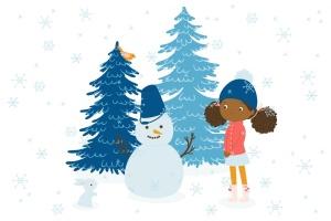 冬天儿童乐园矢量插画设计素材 Winter Fun Vector Graphic Set插图(5)