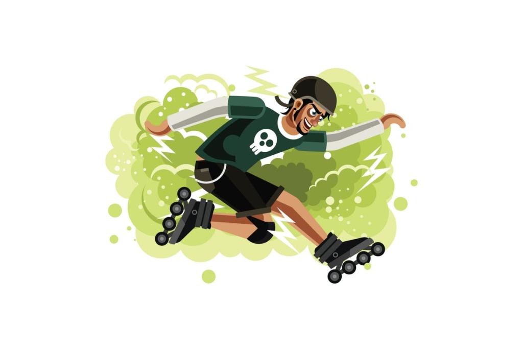 溜冰体育运动卡通矢量插画设计素材 Sport boy on Roller Skater插图