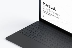 MacBook超极本屏幕演示右视图样机 Clay MacBook Mockup, Isometric Right View插图3