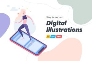 简约数码主题矢量插画素材 Digital Illustrations插图1