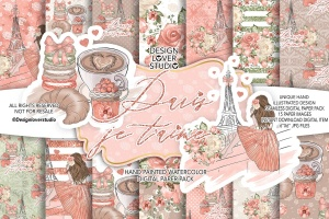 食物元素水彩花卉剪贴画设计套装 Paris je t'aime digital paper pack插图1