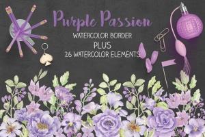 紫色水彩花卉边框&元素剪贴画PNG素材 Purple Watercolor Floral Border Plus Elements插图1