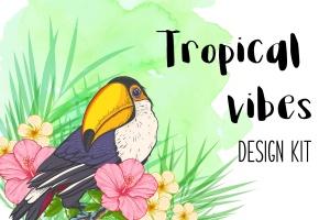 巨嘴鸟&花卉水彩手绘矢量插画素材 Tropical Vibes Vector Design Kit插图1